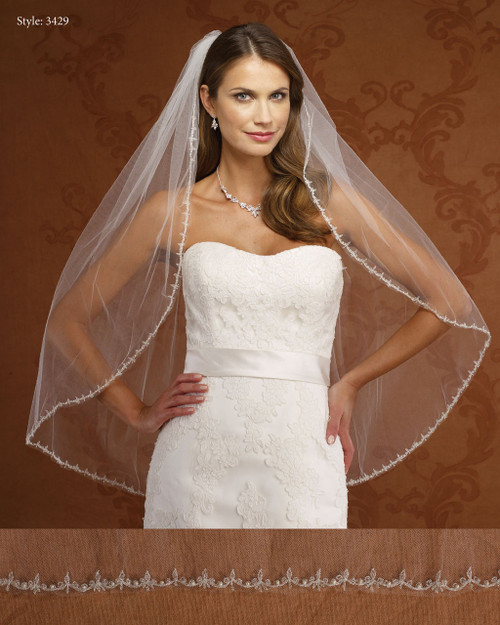 Marionat Bridal Veils 3429- Embrodiered Edge with Pearls-The Bridal Veil Company