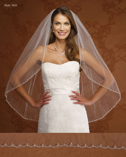 Marionat Bridal Veils 3431-Embrodiered Beaded Edge-The Bridal Veil Company