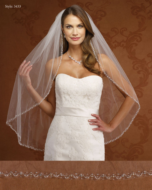 Marionat Bridal Veils 3433-Beaded Pearl Edge-The Bridal Veil Company
