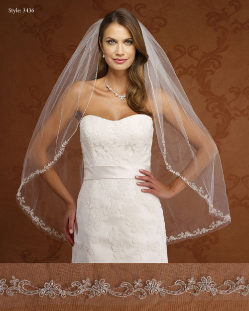 Marionat Bridal Veils 3436- Beaded Floral Embroidered Border-The Bridal Veil Company