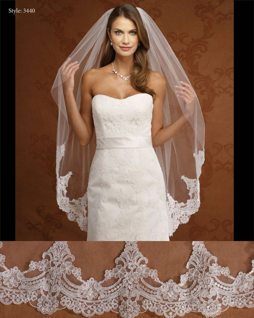 Marionat Bridal Veils 3440- Beaded Lace Veil-The Bridal Veil Company