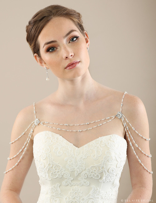 Bel aire bridal sh210 rhinestone and pearl shoulder jewelry for Necklace for v neck wedding dress