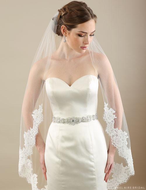 Bel Aire Bridal Veils V7300 - 1-tier veil with Alençon lace