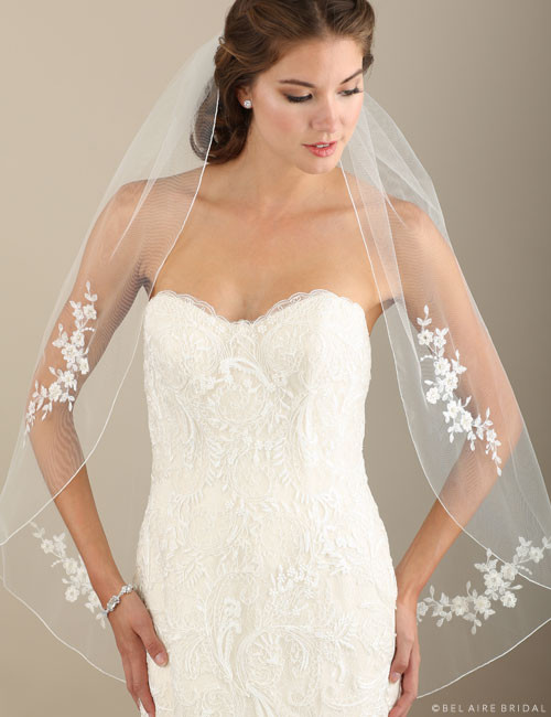 Bel Aire Bridal Veils V7310 1-tier rolled edge fingertip veil with Alençon lace appliqués