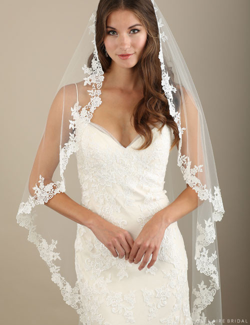Bel Aire Bridal Veils V7322 - 1-tier waltz length cascading veil with Venise lace edge