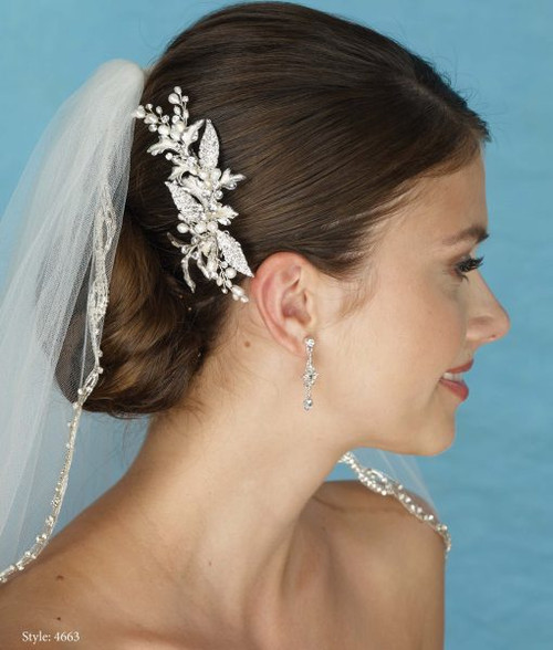 Marionat Bridal 4663 Pearl and Rhinestone Clip- Le Crystal Collection
