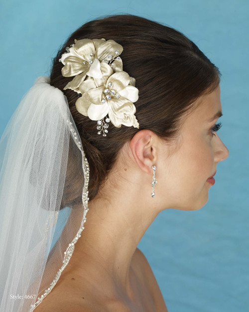 Marionat Bridal 4667 Gold and Ivory Fabric Flower Clip - Le Crystal Collection