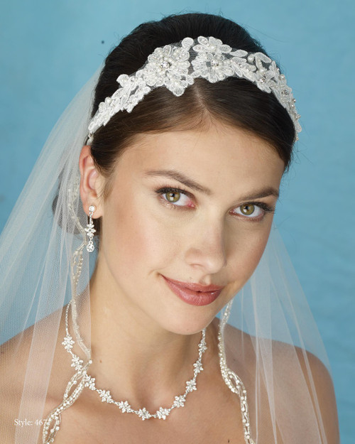 Marionat Bridal 4671 Lace Headband with Pearls - Le Crystal Collection