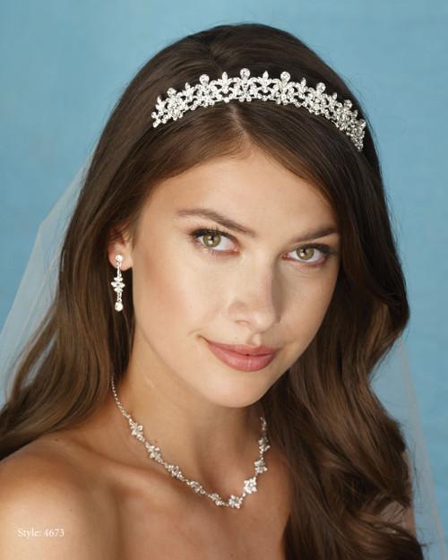 Marionat Bridal 4673 Rhinestone Tiara- Le Crystal Collection
