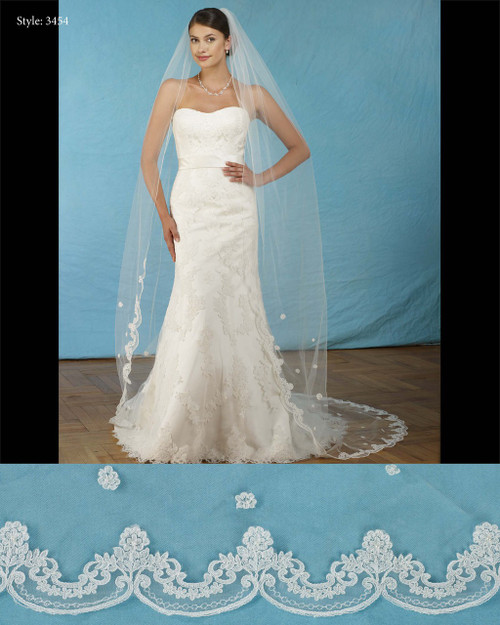 "Marionat Bridal Veils 3454-108"" Lace scalloped veil with lace flower -The Bridal Veil Company"