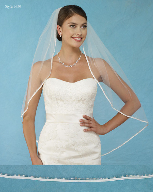 Marionat Bridal Veils 3450- Biased Ribbon Edge with Beads, Pearls, Crystals, Rhinestones -The Bridal Veil Company