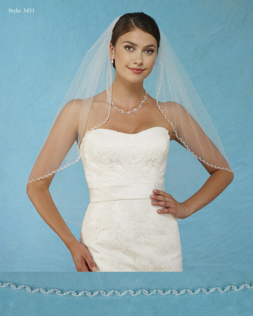 Marionat Bridal Veils 3451 - Beaded Edge with Crystals -The Bridal Veil Company