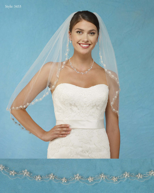 Marionat Bridal Veils 3453 - Scalloped Veil with Pearl Flowers and Embroidery - The Bridal Veil Company