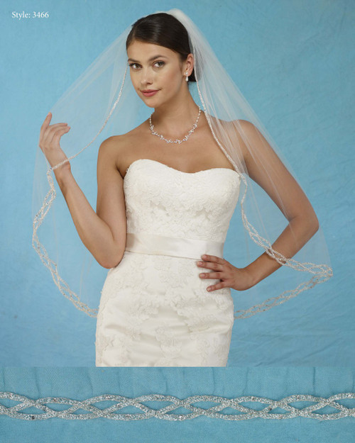 Marionat Bridal Veils 3466 - Beaded Chain Design - The Bridal Veil Company