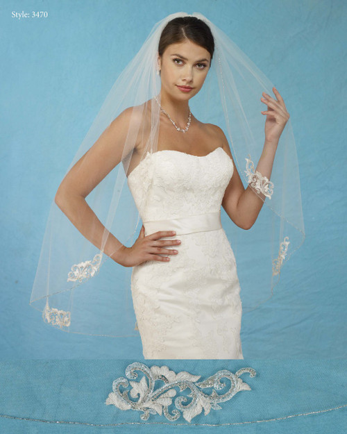 Marionat Bridal Veils 3470 - Embroidered Appliques Rhinestones - The Bridal Veil Company