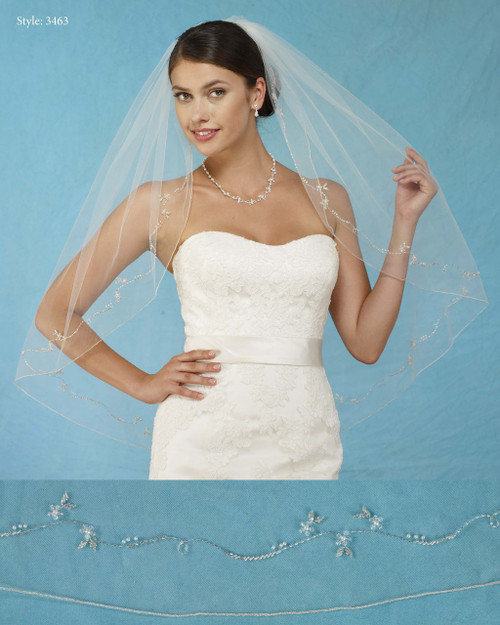 Marionat Bridal Veils 3463 - Beaded Design with Crystals and Pearls, Silver Rolled Edge - The Bridal Veil Company