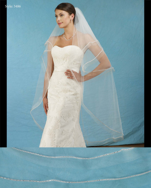 Marionat Bridal Veils 3486 - Oval Foldover Veil with Rhinestones and Horsehair - The Bridal Veil Company
