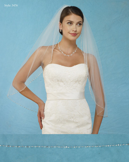 Marionat Bridal Veils 3476 - Pearl Beaded Edge - The Bridal Veil Company