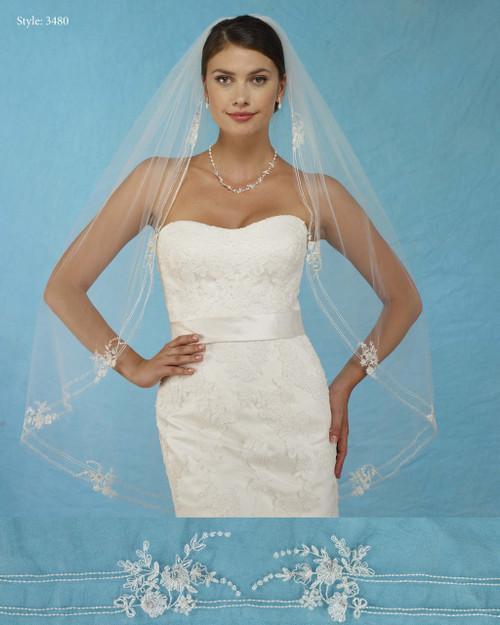 Marionat Bridal Veils 3480 - Embroidered Flower Appliques - The Bridal Veil Company
