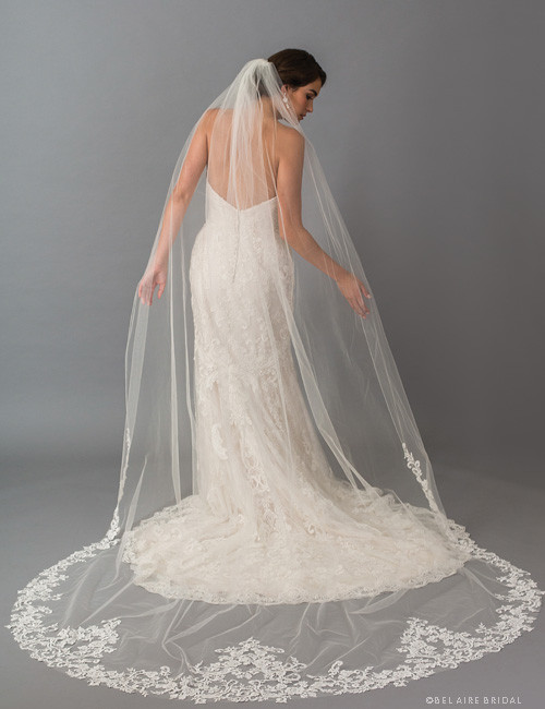 Bel Aire Bridal Veils V7414C - 1-tier cathedral veil with rolled edge and dramatic Venise lace points