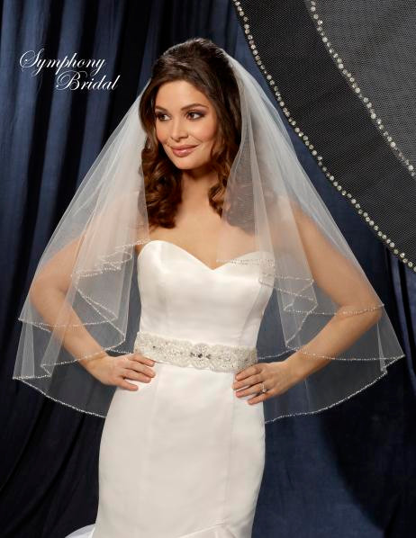 Symphony Bridal Veil - Style 6206VL - Two Tier Beaded Veil