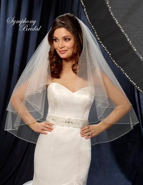 Symphony Bridal Veil - Style 6206VL - Two Tier Beaded Veil