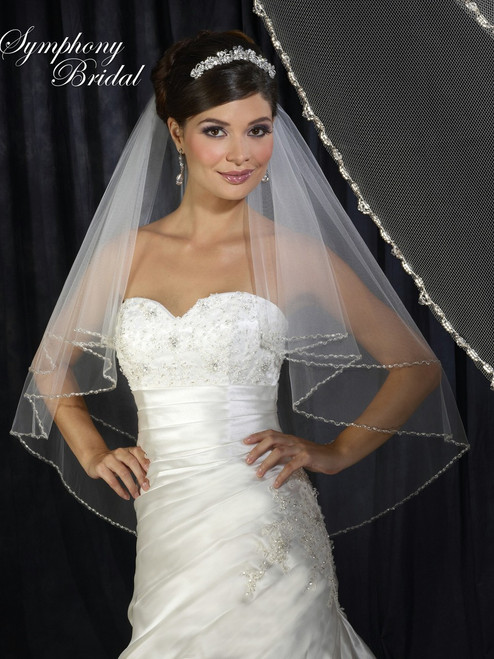 Symphony Bridal Veil - Style 6316VL - Fold Over Veil with Beaded Edge