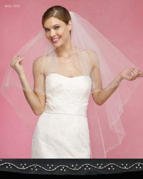 Marionat Bridal Veils 3252- The Bridal Veil Company - Beaded Edge Angle Cut