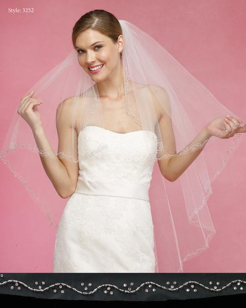 Marionat Bridal Veils 3252- The Bridal Veil Company - Beaded Edge Angle Cut