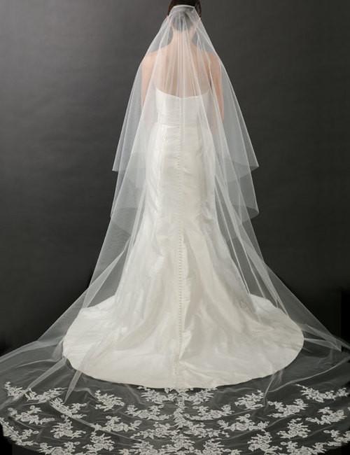 Bel Aire Bridal Veils V7262C - 2-tier foldover lace veil - Cathedral Wedding Veil