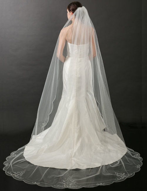 Bel Aire Bridal Veils V7264C Beaded Scalloped Cathedral Veil