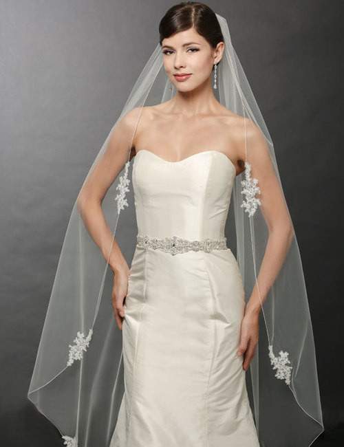 Bel Aire Bridal Wedding Veil V7251- One Tier Waltz-Length Lace Edge Veil