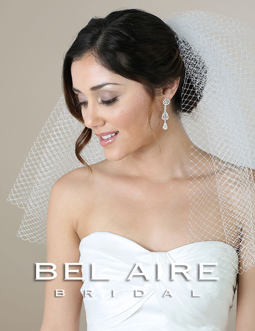 Bel Aire Bridal Wedding Veil V7266 - Shoulder Length French Net Veil