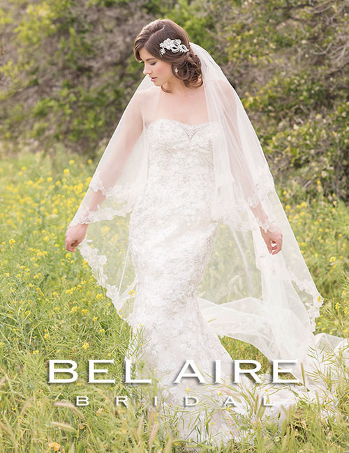 Bel Aire Bridal Style V7174 - Two Tier Blusher + Cathedral Wedding Veil w/Silver Embroidered Flowers