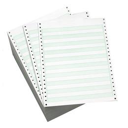 "9 1/2"" x 11"" 20# 1/2"" Green Bar, Standard Perf, Continuous Computer Paper, 2700 sheets, 8225"