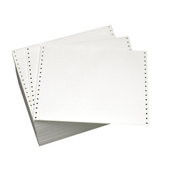 "14 7/8"" X 11"" 20# Blank Continuous Computer Paper, 2300 sheets, 99103"