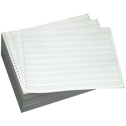 "14 7/8"" X 8 1/2"" 15# 1/2"" Green Bar, 2-Part Carbon Interleaf, Continuous Computer Paper, 1500/3000 sheets, 9304"