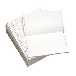 "9 1/2"" x 5 1/2"" 20# Blank, Standard Perforation, Continuous Computer Paper, 5400 sheets, 9542"