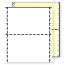 "9 1/2"" x 5 1/2"" 15# Blank Regular Perf, 2-Part Carbonless, Continuous Computer Paper, 3200/6400 sheets, 91195"