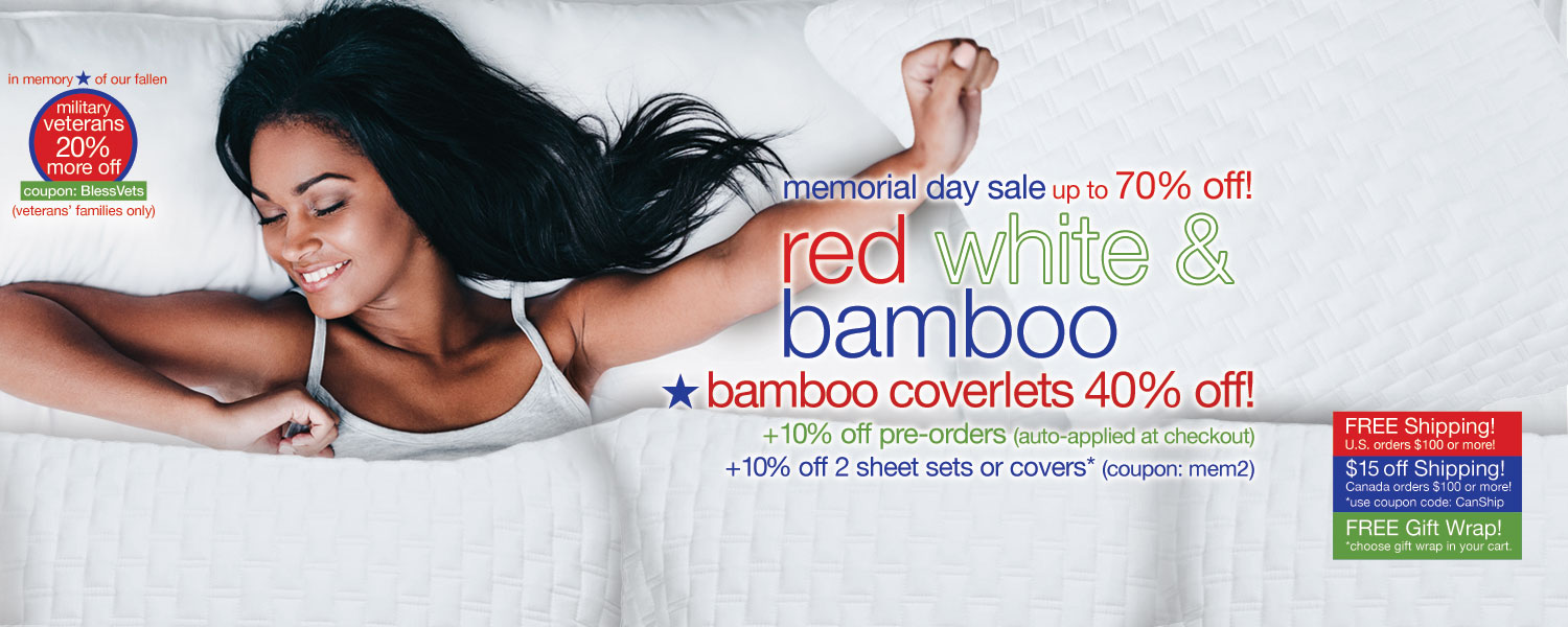 memorial day sale!  bamboo coverlets up to 70% off
