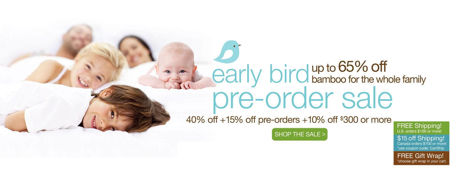 early bird pre-order bamboo for the whole family SALE! up to 65% off