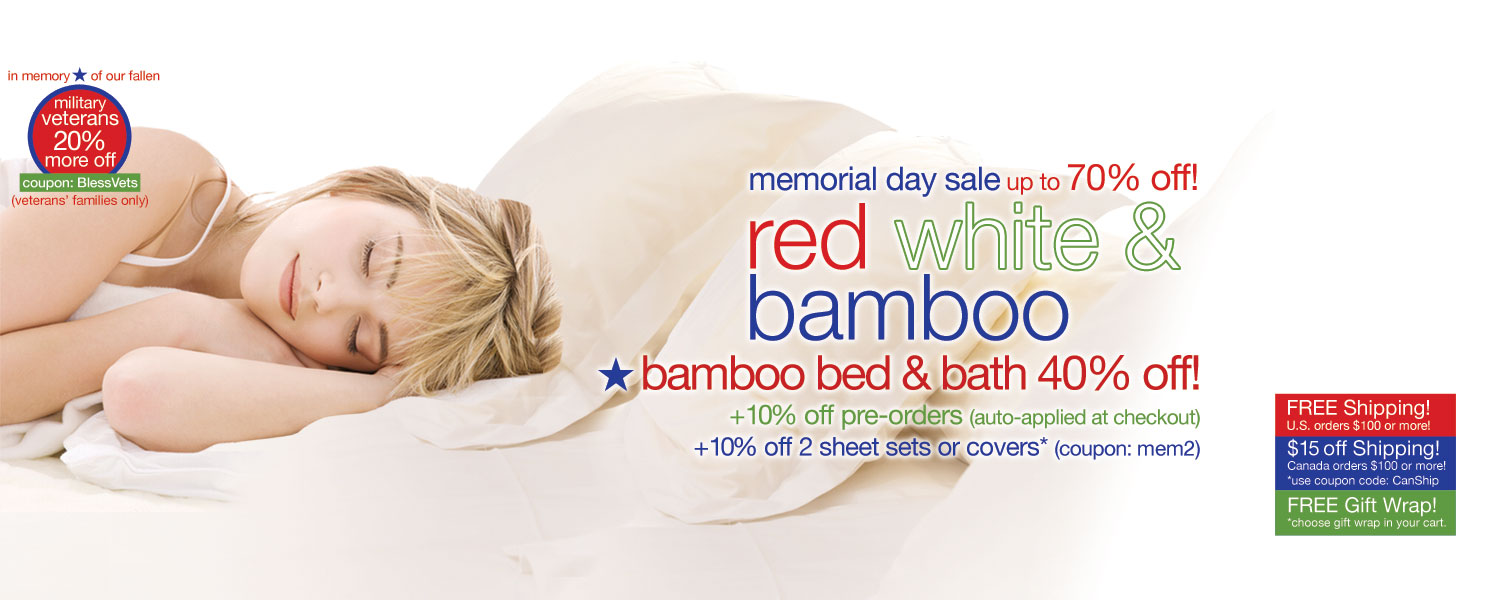 memorial day sale!  bamboo bedding & bath up to 70% off