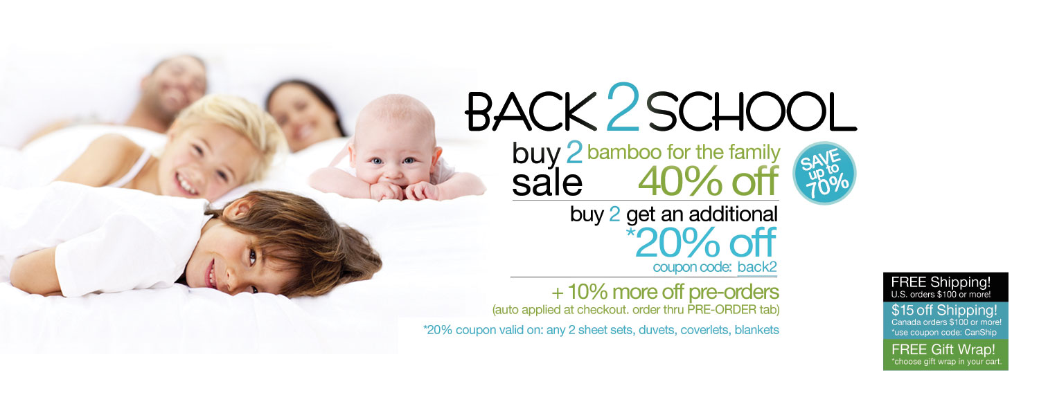 Back 2 School Buy 2 Sale!  bamboo for the whole family up to 70% off