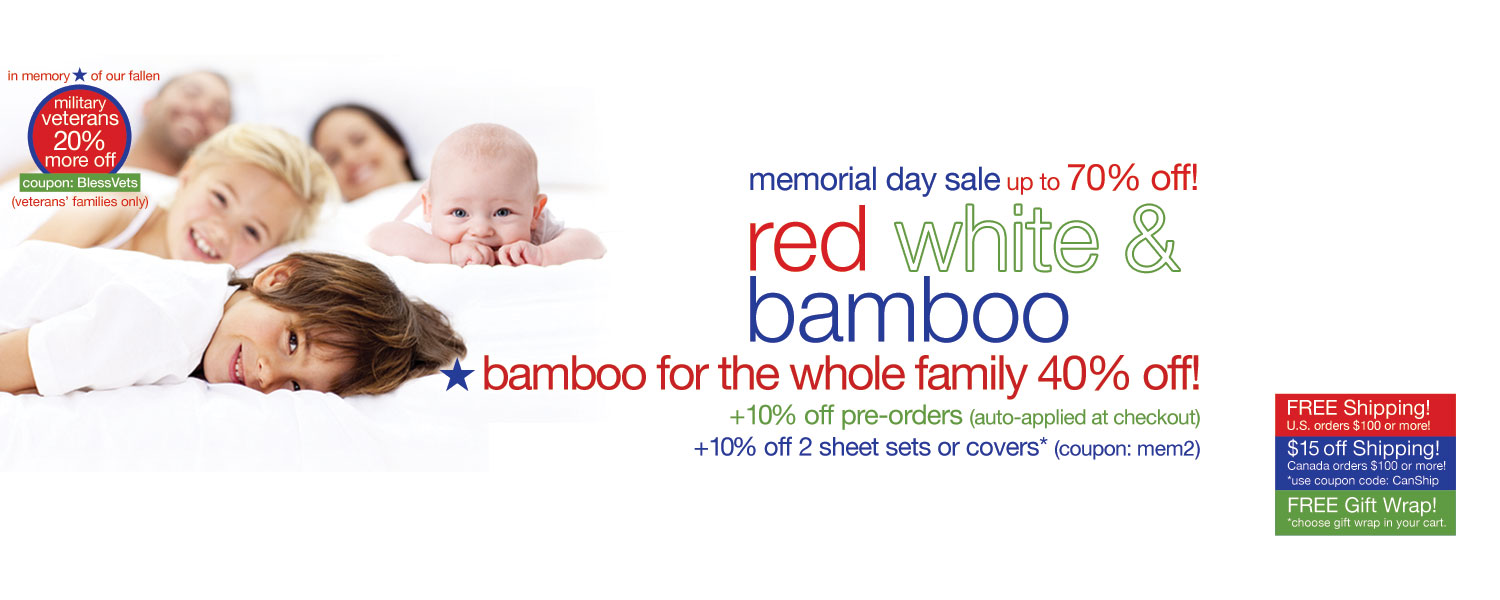 memorial day sale!  bamboo for the whole family up to 70% off