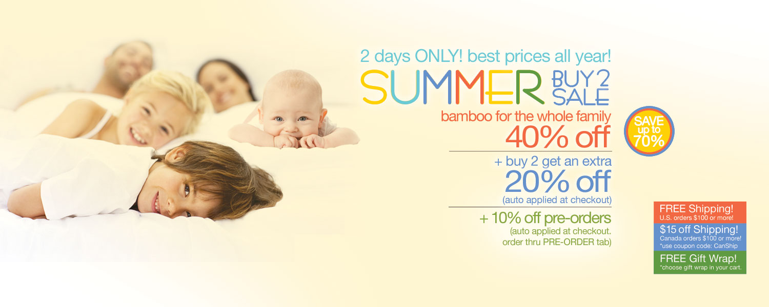 Summer Buy 2 Sale!  bamboo for the whole family up to 70% off
