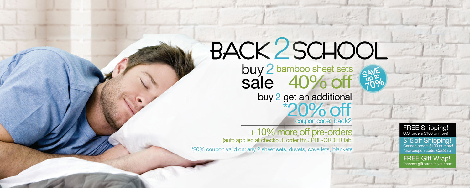 Back 2 School Buy 2 Sale!  bamboo sheet sets up to 70% off