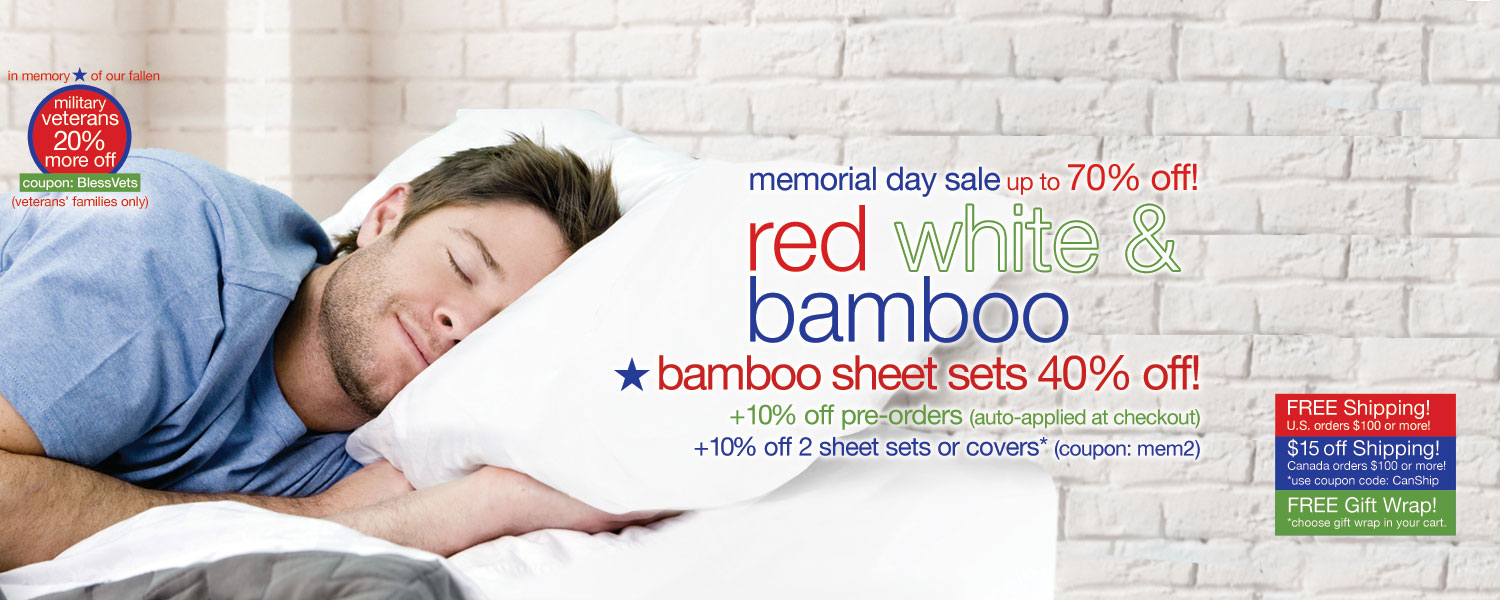 memorial day sale!  bamboo sheet sets up to 70% off