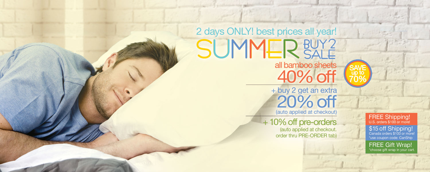 Summer Buy 2 Sale!  bamboo sheet sets up to 70% off