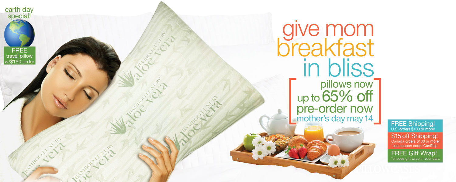 give mom breakfast in bliss bamboo pillow SALE! up to 65% off