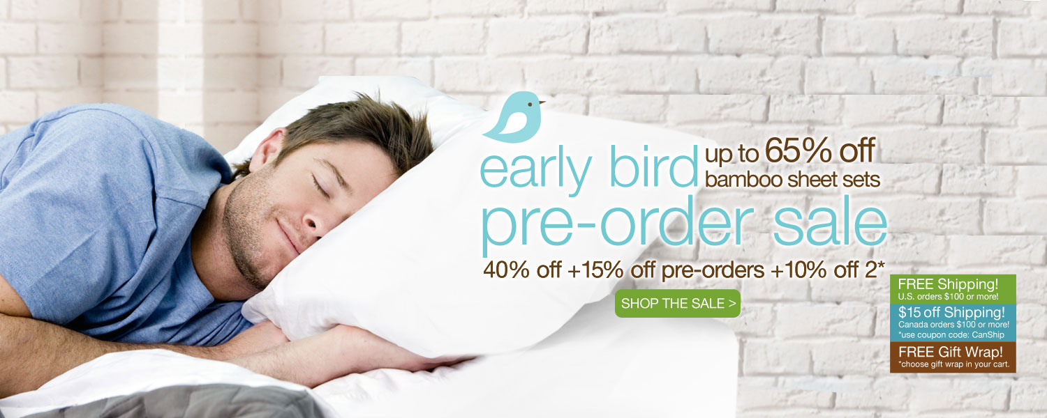 early bird pre-order bamboo sheet set SALE! up to 65% off